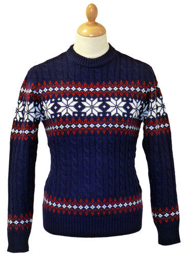 RETRO CHRISTMAS JUMPER SNOWFLAKE JUMPER 70 SWEATER