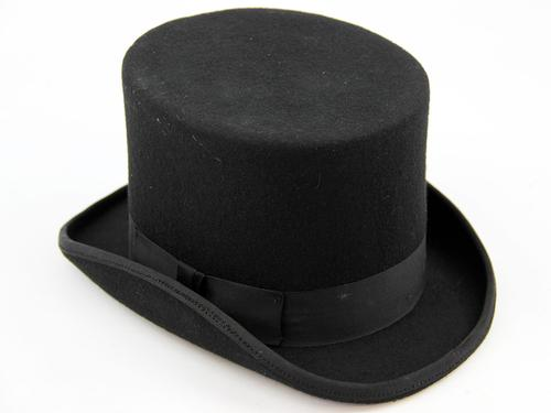 RETRO VINTAGE MENS TOP HAT BLACK
