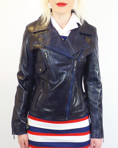 WOMENS RETRO LEATHER BIKER JACKET 70s LEATHER