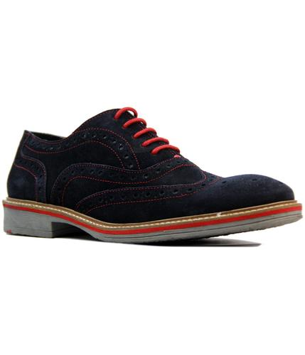 retro 1960s mod suede colour tipped brogues navy