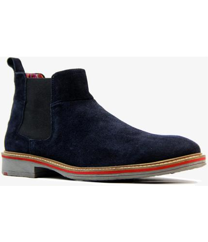 retro 1960s mod suede tipped chelsea boots navy