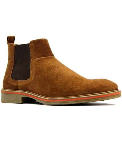 retro 1960s mod suede tipped chelsea boots sand