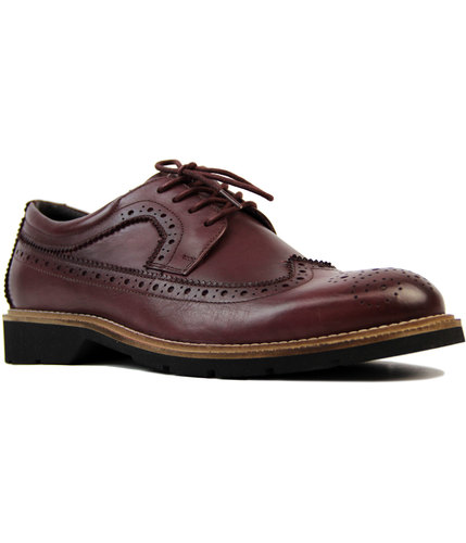 roamers retro 60s mod wing cap gibson brogues wine
