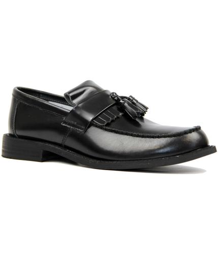 RETRO MOD 60s 70s BLACK TASSLE LOAFERS