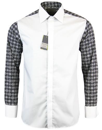 rocola retro 1960s geometric back big collar shirt