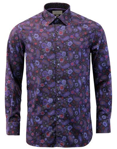 ROCOLA Retro 1960s Mod Floral Paisley Print Shirt