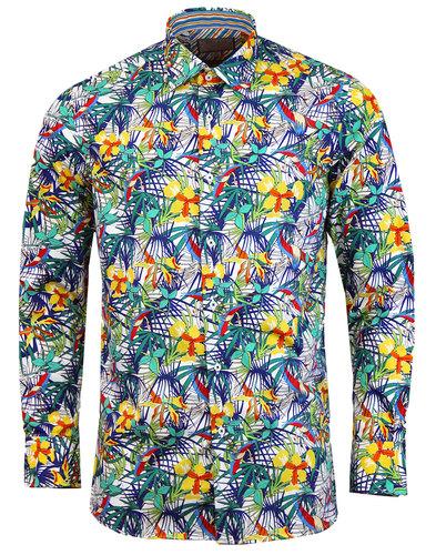 ROCOLA Mens Retro 70s Tropical Floral Print Shirt