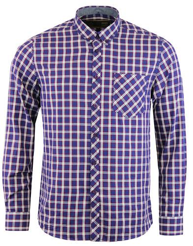 merc sancton button down check shirt blue