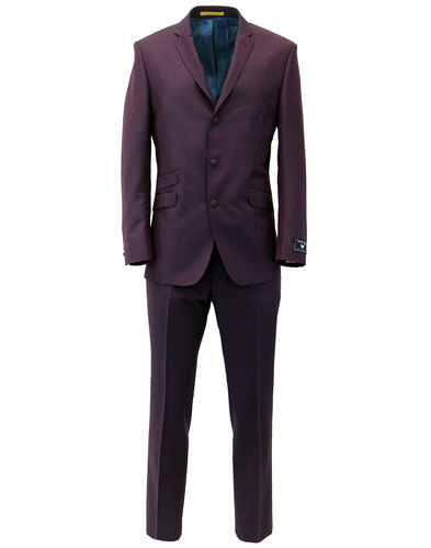 SCOTT RETRO MOD 3 BUTTON SUIT BURGUNDY MOHAIR