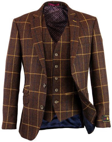 retro 1960s mod windowpane check blazer brown
