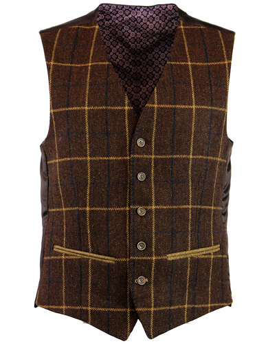 retro 1960s mod windowpane check waistcoat brown