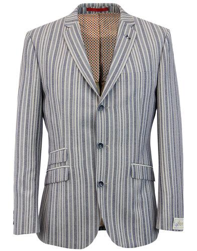retro 60s mod linen stripe 3 button boating blazer