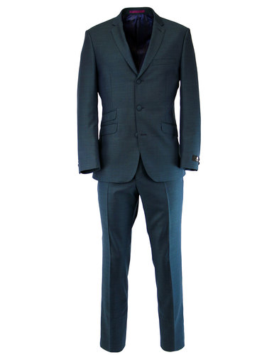 SCOTT RETRO MOD 3 BUTTON SUIT TEAL MOHAIR