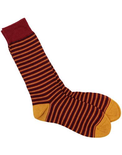 scott nichol retro mod fine stripe knit socks wine