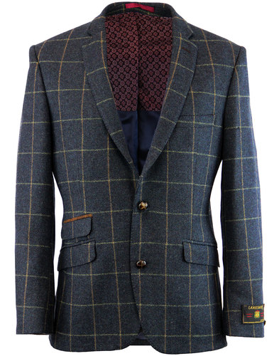 retro 1960s mod 2 button window pane check blazer