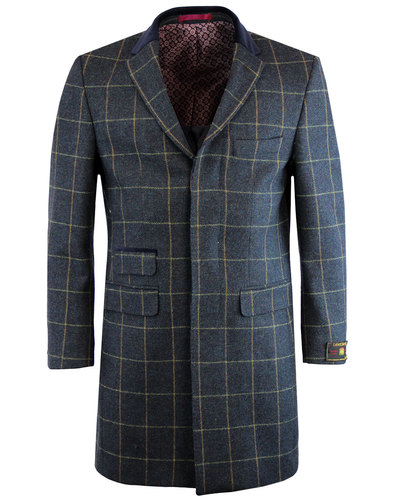 Scottie Men's Retro 1960s Mod Tweed Check Overcoat