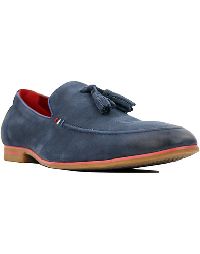 Rene SERGIO DULETTI Leather Tassel Loafers NAVY