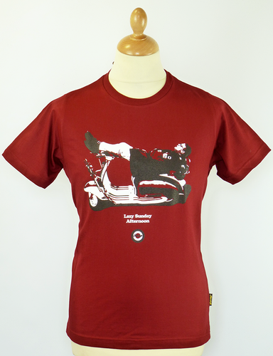 STOMP LAZY SUNDAY MOD SCOOTER T-SHIRT RED