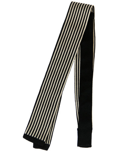 retro 1960s mod knitted stripe silk square end tie
