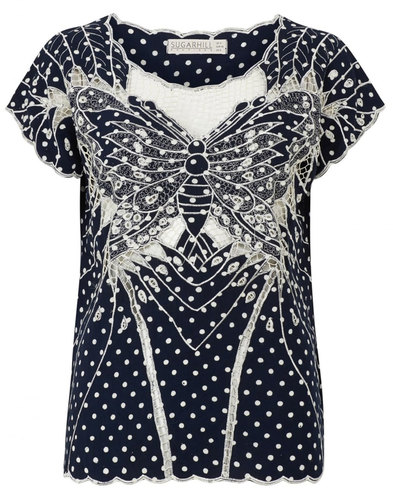 Sugarhill Boutique Retro Butterfly Cutwork Top
