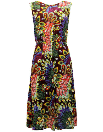 Gloria SUGARHILL BOUTIQUE 60s Peacock Print Dress
