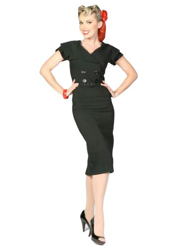 TATYANA RETRO 50s SECRETARY PENCIL DRESS BLACK
