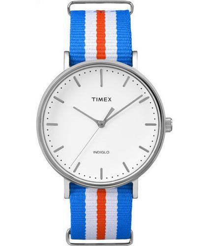 TIMEX RETRO MOD WEEKENDER WATCH BLUE ORANGE WHITE
