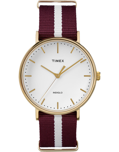 timex weekender fairfield watch burgundy/white