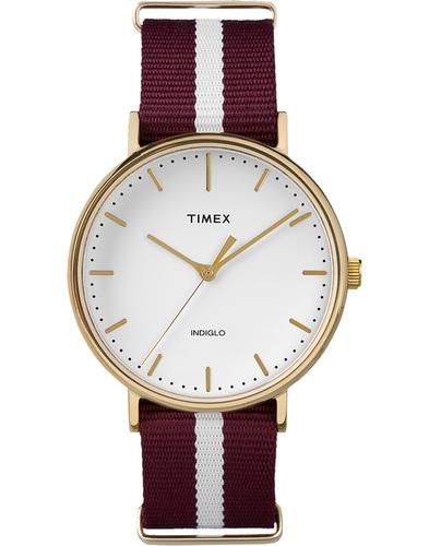 timex weekender fairfield watch burgundy/white