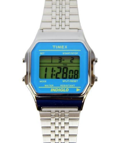 TIMEX RETRO 80s DIGITAL WATCH BLUE SILVER