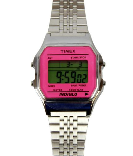 TIMEX RETRO 80s DIGITAL WATCH PINK SILVER