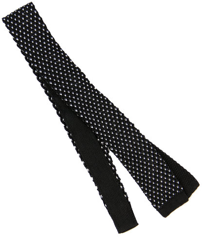 TOOTAL Retro 1960s Mod Silk Knitted Dot Tie BLACK