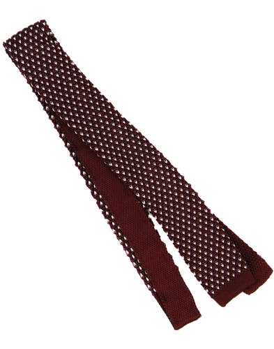 tootal retro 60s mod micro dash knit tie burgundy