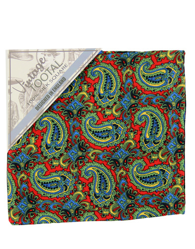 tootal floral paisley pocket square red