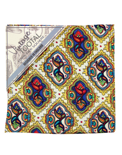 tootal diamond tile pocket square gold
