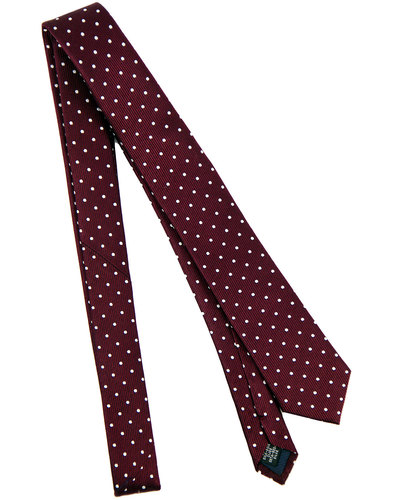 tootal retro 1960s mod polka dot silk tie burgundy