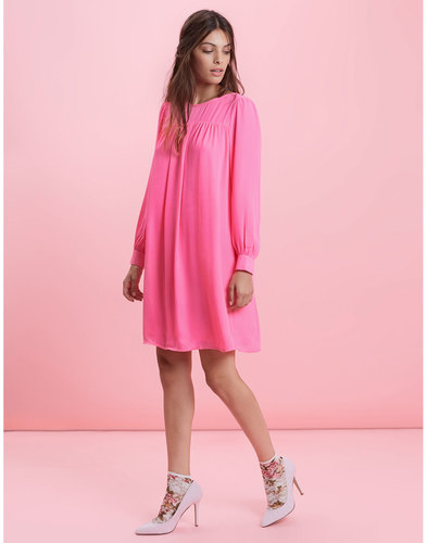 Traffic People Retro 60s crepe shift dress pink