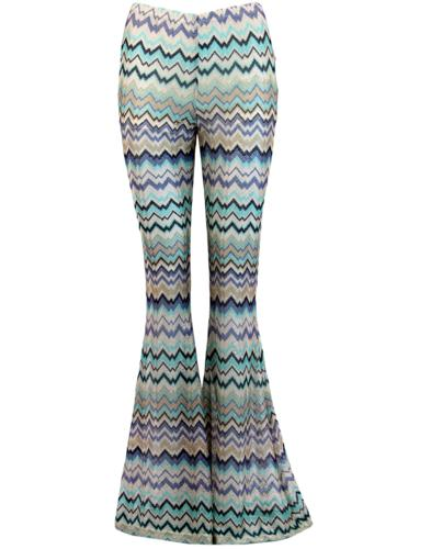 70'S TRAFFIC PEOPLE Woven Zig-Zag Retro Flares
