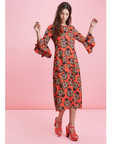 Traffic People Retro 70s Midi Dress Luck Be A Lady