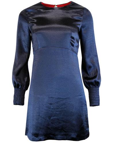 Elvie TRAFFIC PEOPLE Retro Mod Satin Dress in Navy
