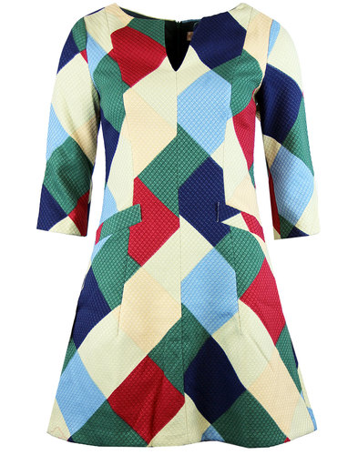 traffic people harmony 60s mod op art arygle dress
