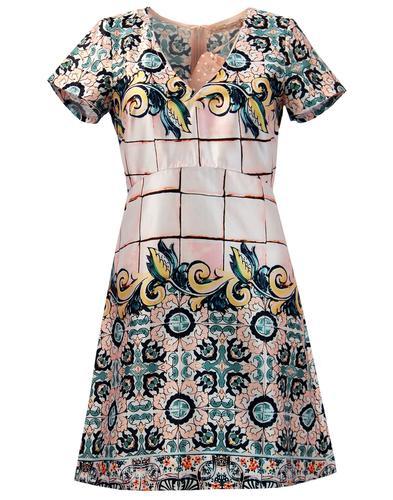 Hi Jinks TRAFFIC PEOPLE Retro Floral Mosaic Dress