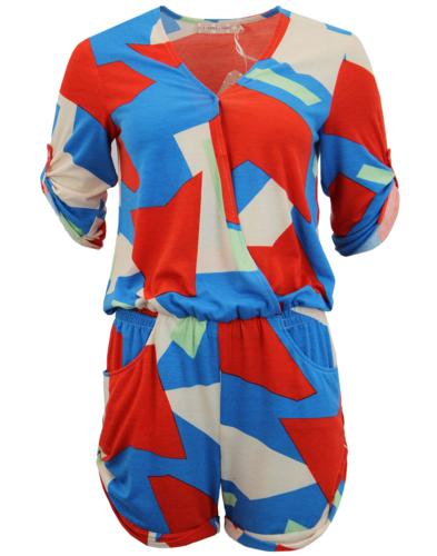 Poca TRAFFIC PEOPLE Retro 70's Geo Print Playsuit