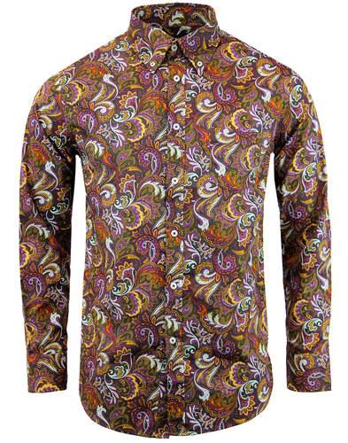 trojan records retro mod paisley shirt chocolate