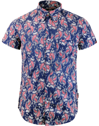 trojan records paisley shirt navy
