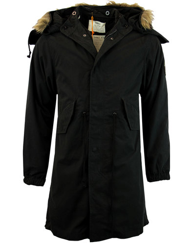 trojan records retro mod fishtail parka in black
