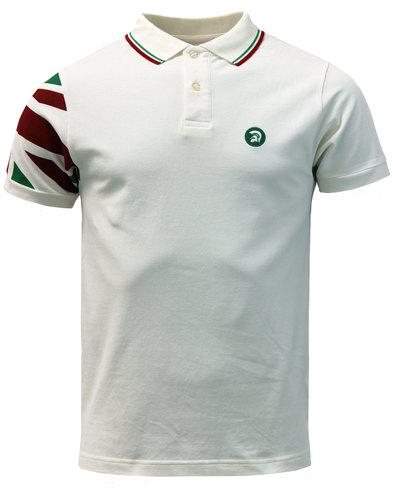 TROJAN RECORDS Retro Union Jack Sleeve Polo ITALIA