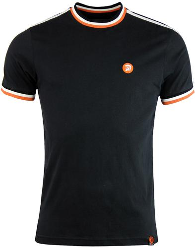 Trojan records twin stripe tee black
