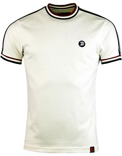 Trojan records twin stripe tee ecru