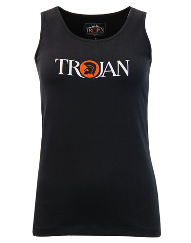 Trojan records retro womans logo tank top in black